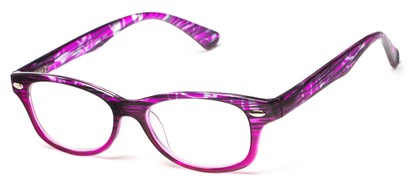 Angle of The Harmon in Purple Stripe/Purple, Women's and Men's Retro Square Reading Glasses