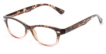 Angle of The Harmon in Brown Tortoise/Pink, Women's and Men's Retro Square Reading Glasses