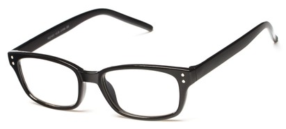 Angle of The Larson in Black, Women's and Men's Rectangle Reading Glasses