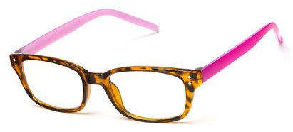 Angle of The Larson in Tortoise/Pink, Women's and Men's Rectangle Reading Glasses
