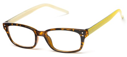 Angle of The Larson in Tortoise/Green, Women's and Men's Rectangle Reading Glasses