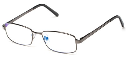 Angle of The Benedict Computer Reader in Grey, Women's and Men's Rectangle Reading Glasses