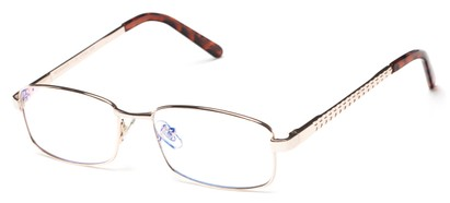 Angle of The Benedict Computer Reader in Light Gold, Women's and Men's Rectangle Reading Glasses