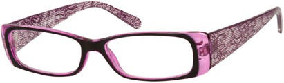 Angle of The Jeanette in Purple Lace, Women's Rectangle Reading Glasses