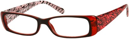 Angle of The Jeanette in Red/Black Zebra, Women's Rectangle Reading Glasses