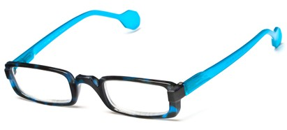 Angle of The Dylan in Blue Tortoise/Aqua, Women's and Men's Rectangle Reading Glasses