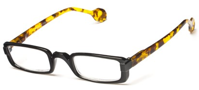 Angle of The Dylan in Black/Tortoise, Women's and Men's Rectangle Reading Glasses