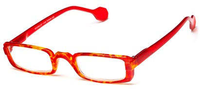 Angle of The Dylan in Red Tortoise/Red, Women's and Men's Rectangle Reading Glasses