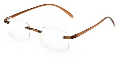 Angle of The Mozart in Brown, Women's and Men's Rectangle Reading Glasses