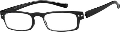 Angle of The Paoli Flexible Reader in Glossy Black, Women's and Men's Rectangle Reading Glasses