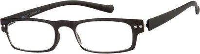 Angle of The Paoli Flexible Reader in Matte Black, Women's and Men's Rectangle Reading Glasses