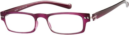 Angle of The Paoli Flexible Reader in Purple, Women's and Men's Rectangle Reading Glasses