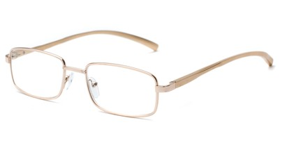 Angle of The Damien in Gold, Women's and Men's Rectangle Reading Glasses