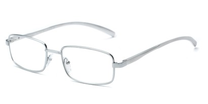 Angle of The Damien in Silver, Women's and Men's Rectangle Reading Glasses