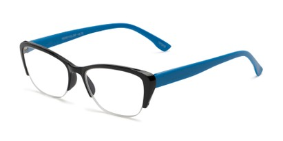 Angle of The Ellery in Black/Blue, Women's Cat Eye Reading Glasses