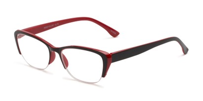Angle of The Ellery in Black/Red, Women's Cat Eye Reading Glasses