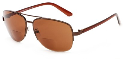 Angle of The Noble Bifocal Reading Sunglasses in Bronze/Brown with Amber, Women's and Men's Aviator Reading Sunglasses