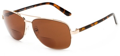 Angle of The Noble Bifocal Reading Sunglasses in Gold/Tortoise with Amber, Women's and Men's Aviator Reading Sunglasses