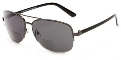 Angle of The Noble Bifocal Reading Sunglasses in Grey/Black with Smoke, Women's and Men's Aviator Reading Sunglasses