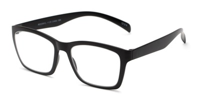 Angle of The Huggins in Black, Women's and Men's Retro Square Reading Glasses