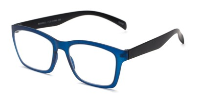 Angle of The Huggins in Blue/Black, Women's and Men's Retro Square Reading Glasses