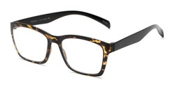 Angle of The Huggins in Tortoise/Black, Women's and Men's Retro Square Reading Glasses