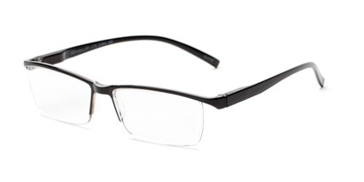 Angle of The Halpert in Black, Women's and Men's Rectangle Reading Glasses