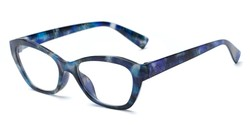 Angle of The Brinley in Blue Pattern, Women's Cat Eye Reading Glasses