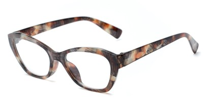 Angle of The Brinley in Brown Pattern, Women's Cat Eye Reading Glasses