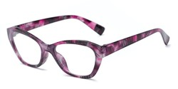 Angle of The Brinley in Purple Pattern, Women's Cat Eye Reading Glasses