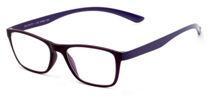 Angle of The Somerset Flexible Reader in Purple, Women's and Men's Retro Square Reading Glasses