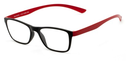 Angle of The Somerset Flexible Reader in Black/Red, Women's and Men's Retro Square Reading Glasses