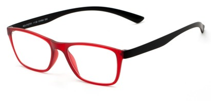 Angle of The Somerset Flexible Reader in Red/Black, Women's and Men's Retro Square Reading Glasses