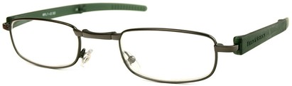 Angle of The Newfoundland Folding Reader in Grey and Green, Women's and Men's Rectangle Reading Glasses