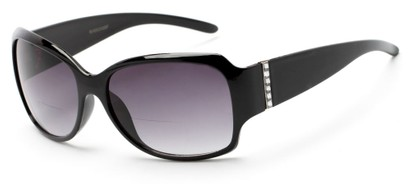 Angle of The Bali Bifocal Reading Sunglasses in Black with Smoke, Women's Square Reading Sunglasses