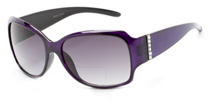 Angle of The Bali Bifocal Reading Sunglasses in Purple with Smoke, Women's Square Reading Sunglasses