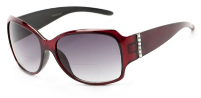 Angle of The Bali Bifocal Reading Sunglasses in Red with Smoke, Women's Square Reading Sunglasses