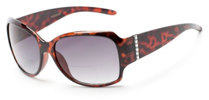 Angle of The Bali Bifocal Reading Sunglasses in Tortoise with Smoke, Women's Square Reading Sunglasses