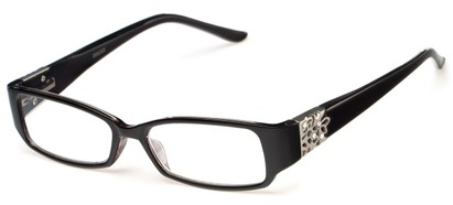 Angle of The Shirley in Black, Women's Rectangle Reading Glasses