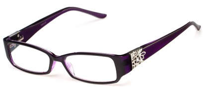 Angle of The Shirley in Purple, Women's Rectangle Reading Glasses