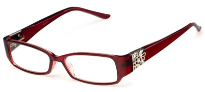 Angle of The Shirley in Red, Women's Rectangle Reading Glasses