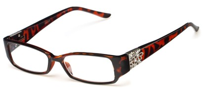 Angle of The Shirley in Tortoise, Women's Rectangle Reading Glasses