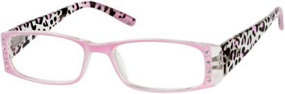 Angle of The Deirdre in Pink, Women's Rectangle Reading Glasses