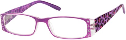 Angle of The Deirdre in Purple, Women's Rectangle Reading Glasses
