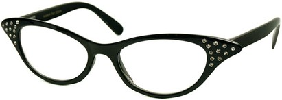 Angle of The Betty in Black, Women's Cat Eye Reading Glasses