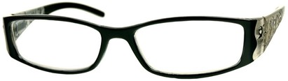 Angle of The Connie in Black, Women's Rectangle Reading Glasses