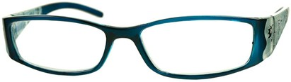 Angle of The Connie in Blue, Women's Rectangle Reading Glasses