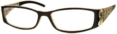 Angle of The Connie in Brown, Women's Rectangle Reading Glasses