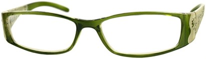 Angle of The Connie in Green, Women's Rectangle Reading Glasses