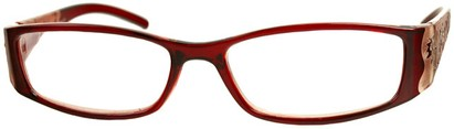 Angle of The Connie in Red, Women's Rectangle Reading Glasses